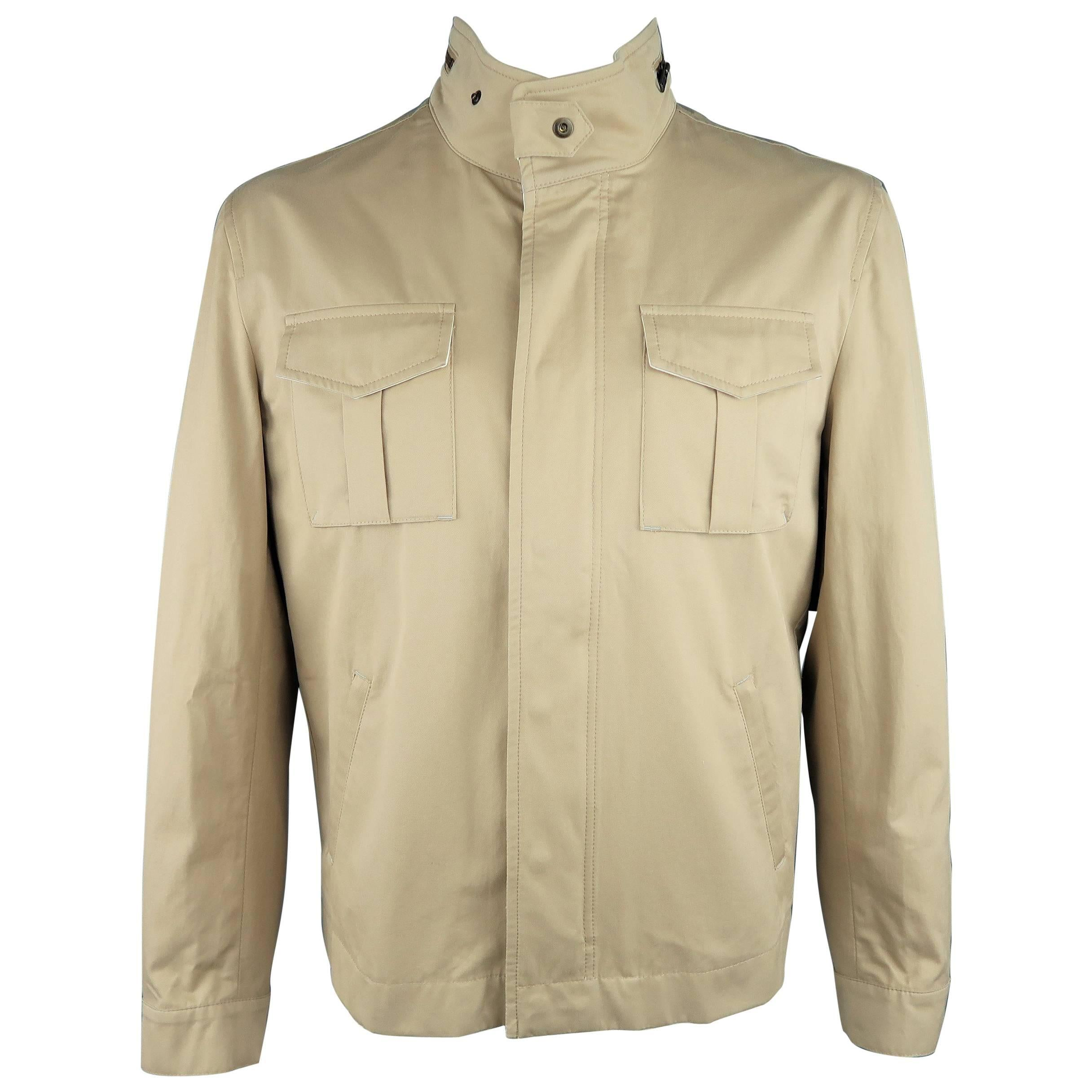fdde85e51 Men's BRUNELLO CUCINELLI L Khaki Cotton High Collar Military Pocket Jacket