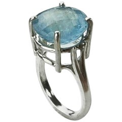 Round Aquamarine and Sterling Silver Ring