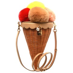 Dolce & Gabbana Ice-Cream Cone Fur and Cane Shoulder Bag