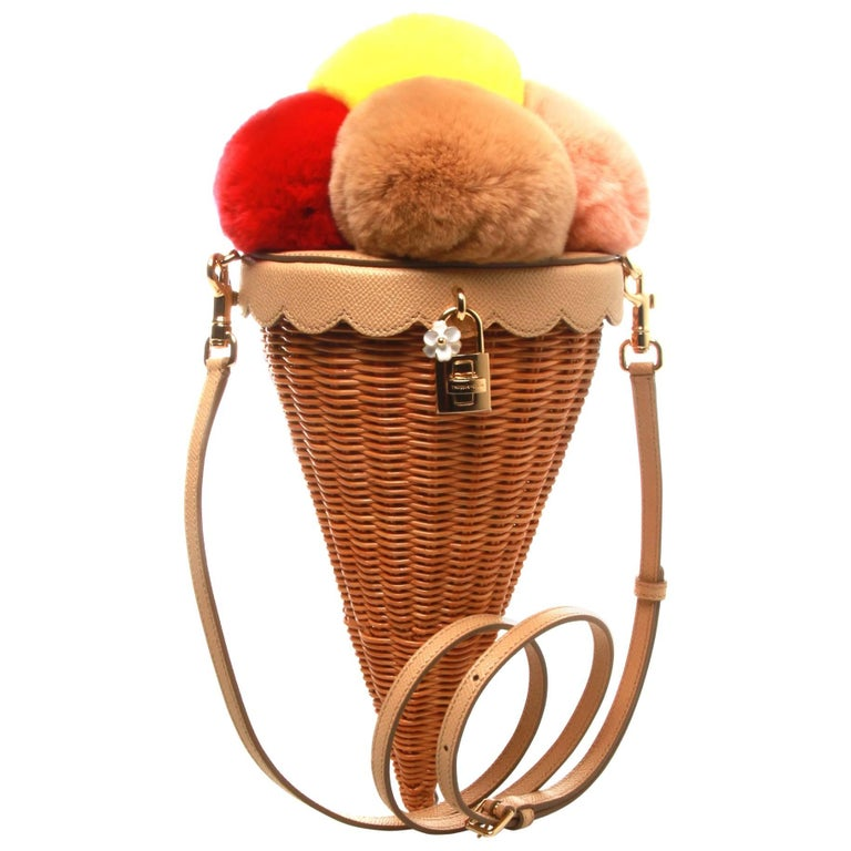 Dolce and Gabbana Ice-Cream Cone Fur and Cane Shoulder Bag For Sale ... 48879651f3
