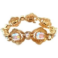 20th Century Gold & Swarovski Crystal Link Style Bracelet By, Coro