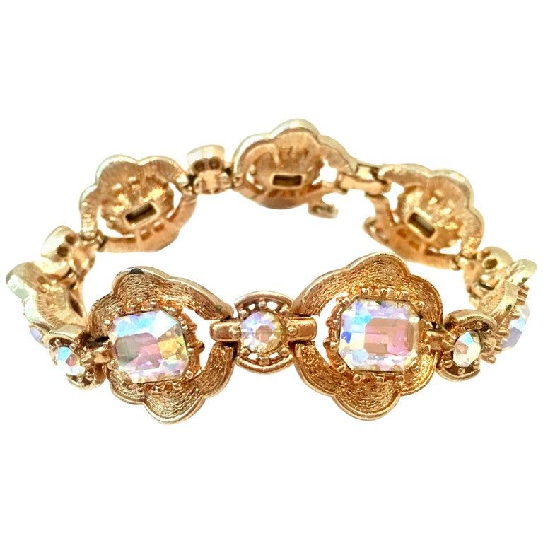 20th Century Gold & Swarovski Crystal Link Style Bracelet By, Coro For Sale