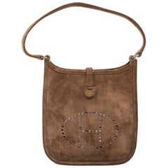 HERMES 'Evelyne' Mini Bag in Brown Suede