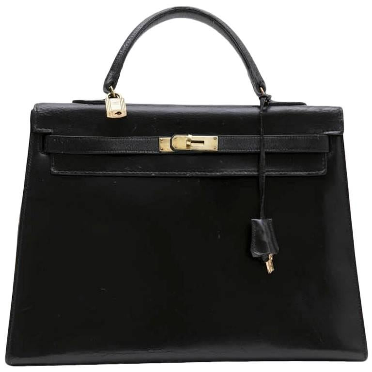 052ee5b80e59 HERMES  Kelly 35  Vintage Bag in Black Box Leather at 1stdibs