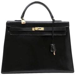 HERMES 'Kelly 35' Vintage Bag in Black Box Leather