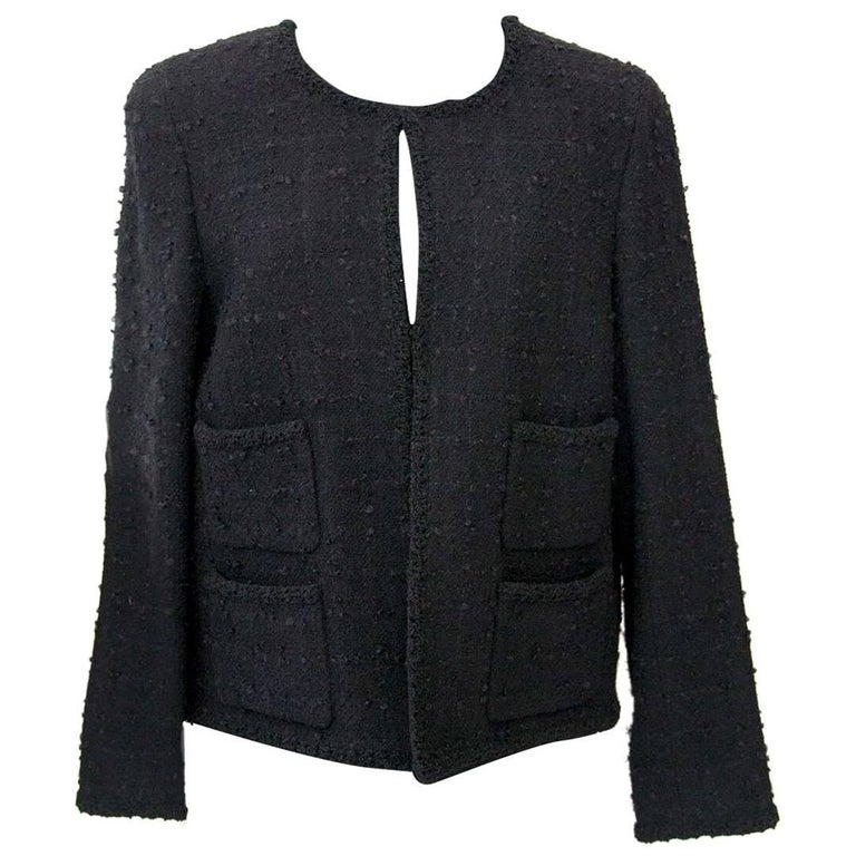 Chanel Black Wool Jacket - Size 42