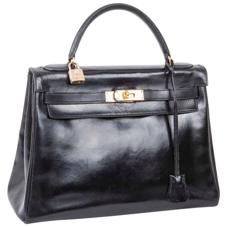 Hermes Vintage Kelly 32 Bag In Black Box Leather For