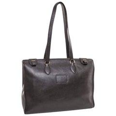 HERMES Vintage Satchel Bag in Black Grained Leather
