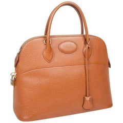 HERMES Vintage 'Bolide' bag in Cannelle Grained Leather