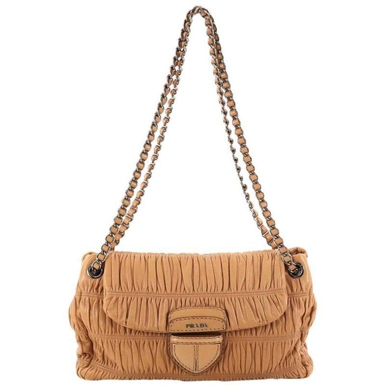 Prada Gaufre Chain Flap Shoulder Bag Nappa Leather Medium
