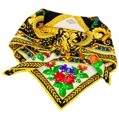 Atelier Versace Baroque Frame and Needlepoint Flower Print Silk Scarf, 1980s