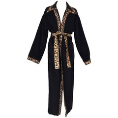 Fendi Black Cashmere Blend Robe Coat Jacket with Leopard Pony Hair Trim, 1990s
