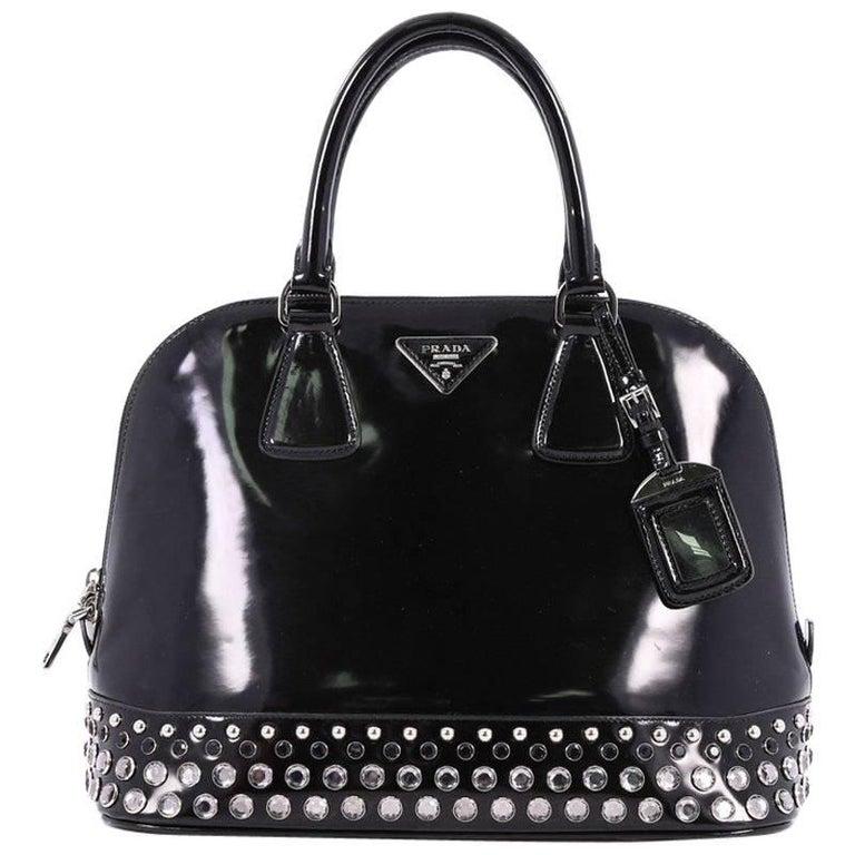 Prada Promenade Handbag Embellished Spazzolato Leather Medium