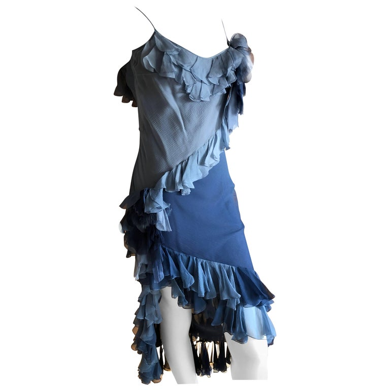 John Galliano 1990's Label Silk Ruffle Ombre Dress with Fur Trim Floral Accents