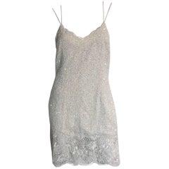 Naeem Khan Riazee white beaded mini dress