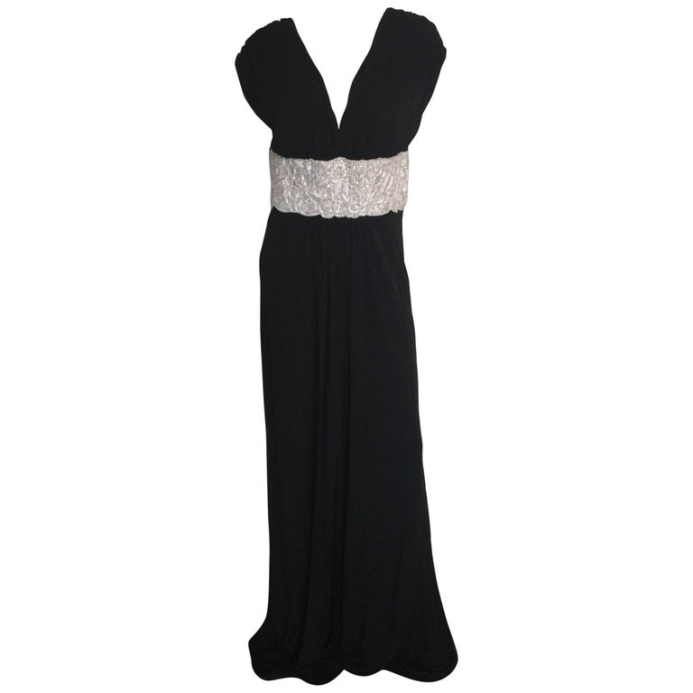 Naeem Khan Black silk jersey gown with white beaded waistband