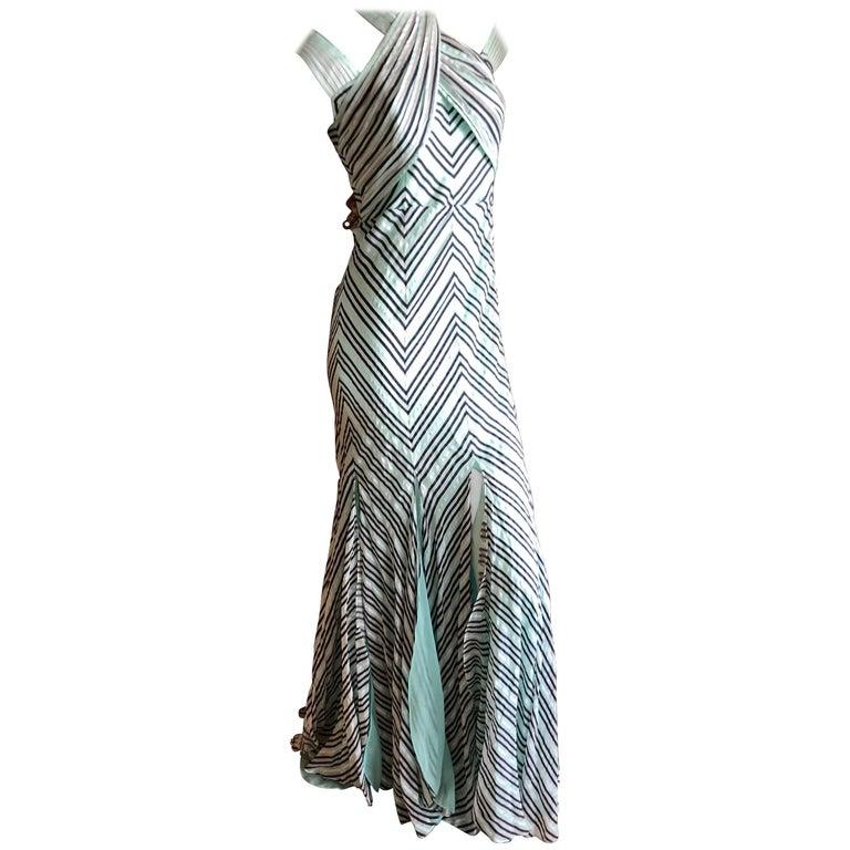 Zac Posen Vintage Silk Chevron Stripe Dress with Romantic Car Wash Hem