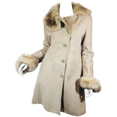 Suede Coat with Fur Trim