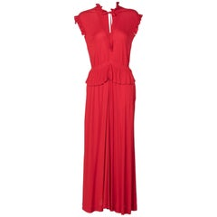 Jean Muir Red Peplum Draped Jersey Dress, 1970s