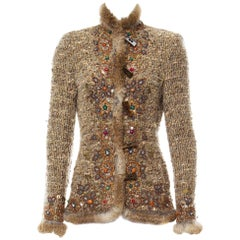 Oscar de la Renta Campaign Runway Beaded Fur Boucle Wool Jacket