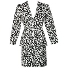 Yves Saint Laurent Cotton Black and White Bow print Skirt Suit, 1980s