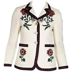 Gucci Ivory Embroidered Floral Blazer