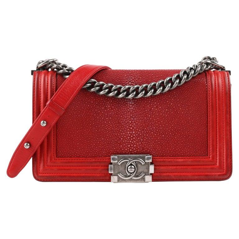 "CHANEL A/W 2012 Red ""Galuchat Stingray Medium Boy"" Flap Top Shoulder Bag Purse For Sale"