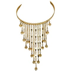 20th Century Modernist Gold Fringe & Ball Bib Collar Style Necklace By Napier