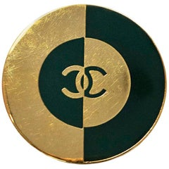 Chanel Green & Goldtone CC Brooch Pin
