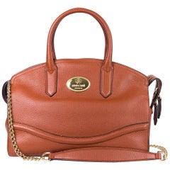 Roberto Cavalli Tan Brown Top Zippered Grained Leather Boston Tote Bag