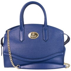 Roberto Cavalli Blue Top Zippered Grained Leather Boston Tote Bag