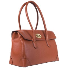 Roberto Cavalli Tan Brown Grained Leather Double Compartment Shoulder Bag