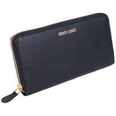 Roberto Cavalli Black Smooth Leather Logo Zip around Continental Wallet