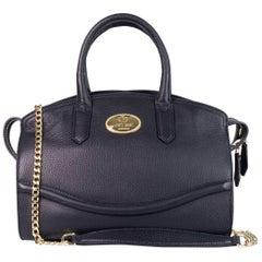 Roberto Cavalli Black Top Zippered Grained Leather Boston Tote Bag