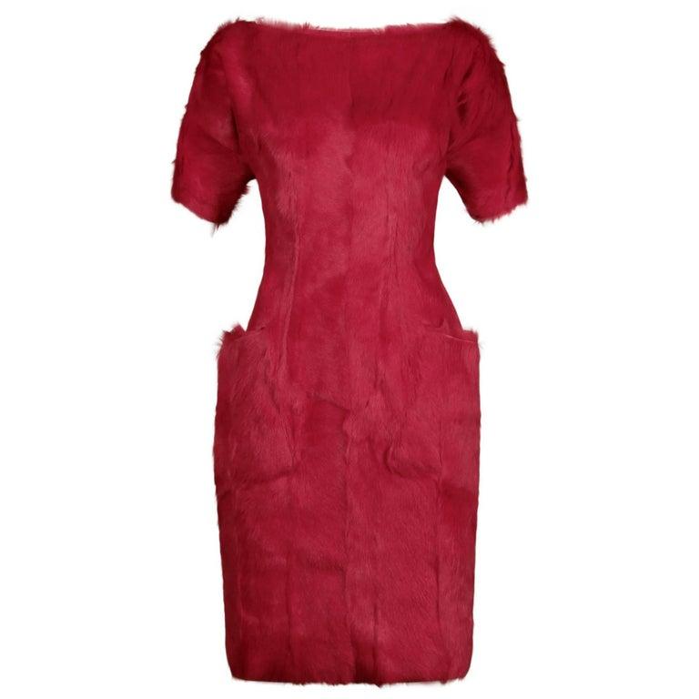 Incredible Guy Laroche Soft Genuine Dyed Pink Genuine Goat Fur Sheath Coat Dress