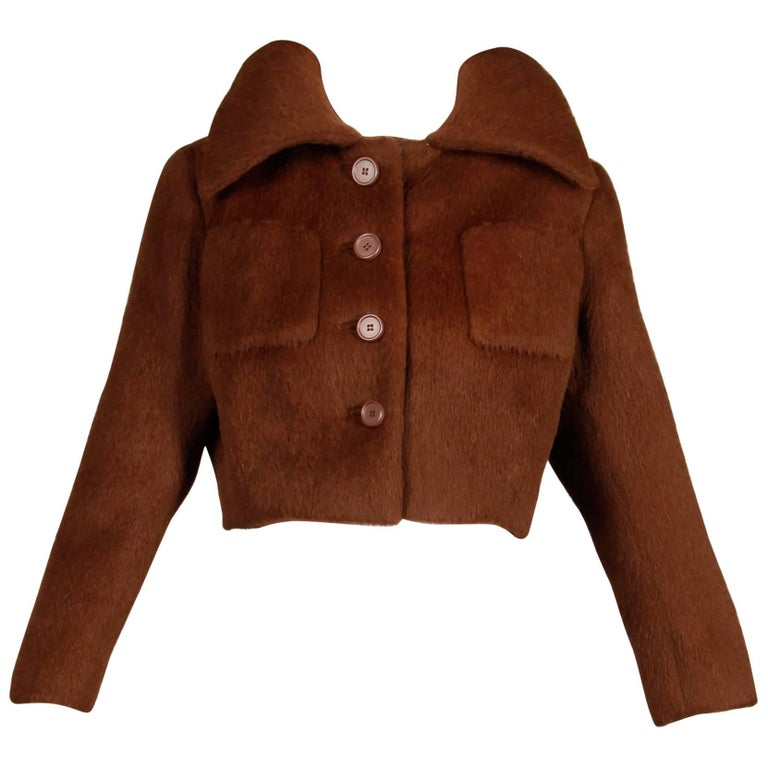1960s Norman Norell Vintage Brown Wool Silk Cropped Jacket with Portrait Collar