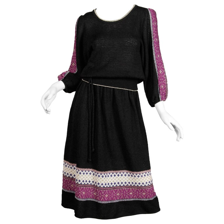 1970s Oscar de la Renta Vintage Knit Sweater Top, Skirt + Belt Dress Ensemble