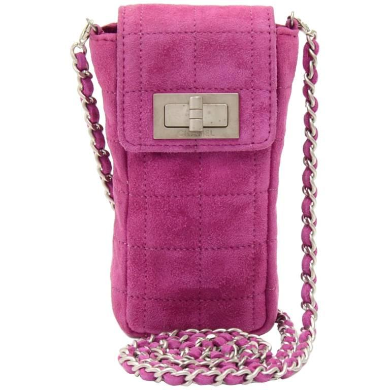 Chanel Fuchsia Quilted Suede Mini Chain Crossbody Bag