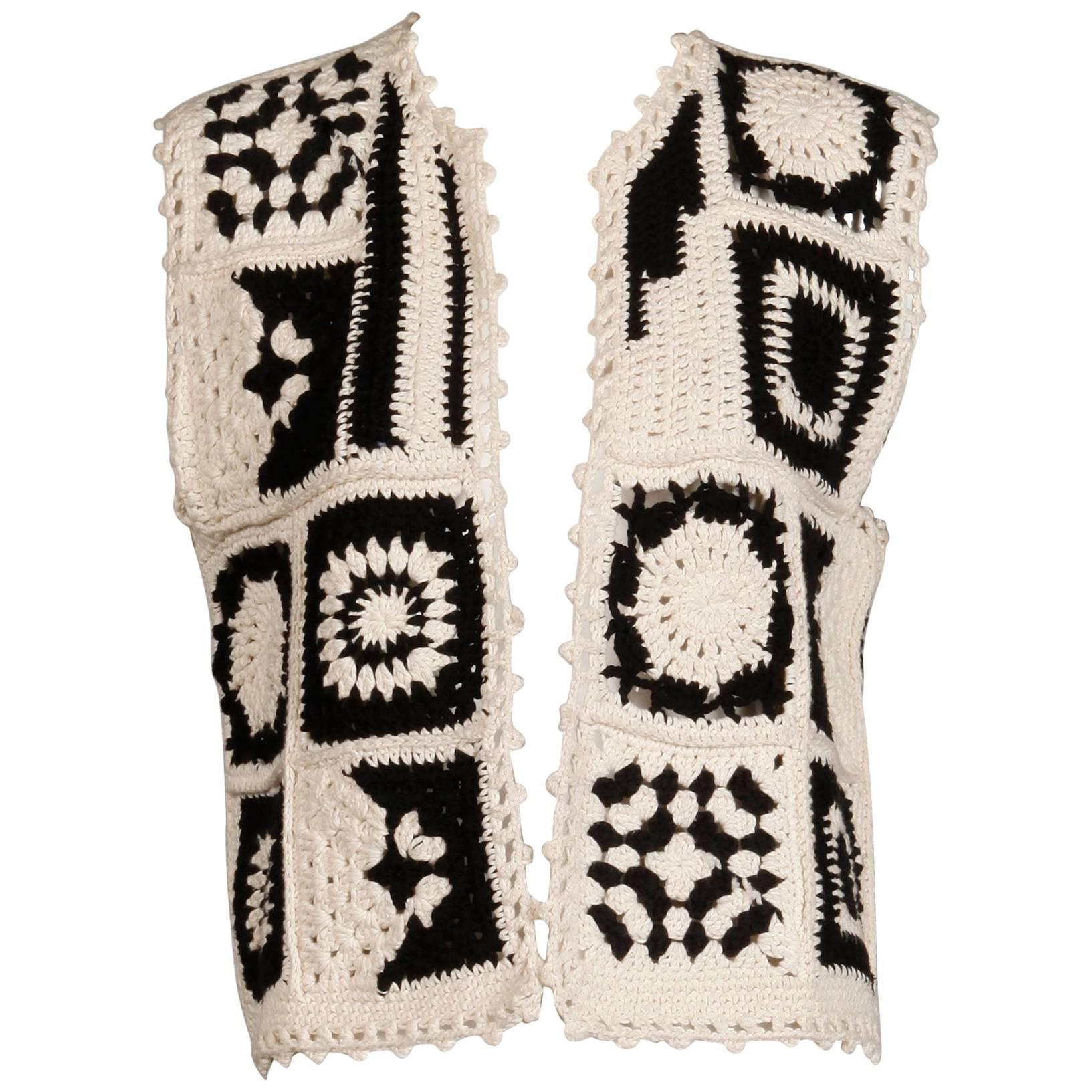 1990s Moschino Couture Vintage Crochet Granny Squares Boho Vest