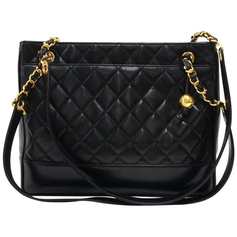 Chanel Vintage Black Quilted Leather Tote Shoulder Bag