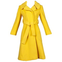 Rare Dia Diodato 1970s Vintage Yellow Wool Trench Wrap Coat with Rounded Collar