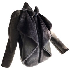 1980s Gianni Versace Gray Shearling Zip Front Jacket W/ Luxurious Draped Collar