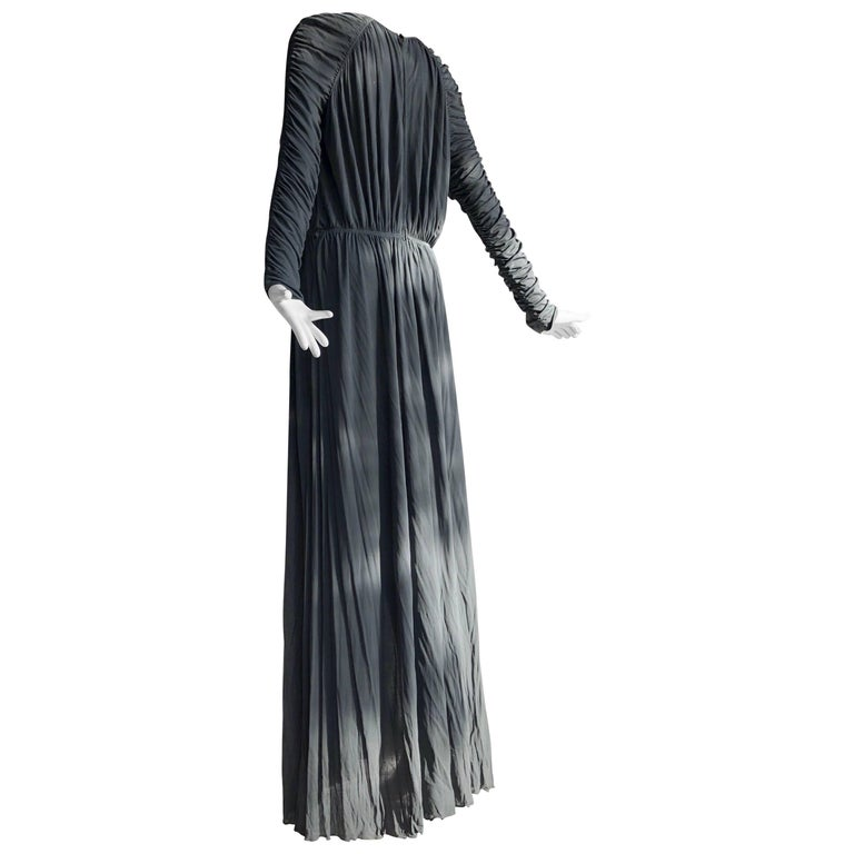 1970s Christian Dior Slate Gray Fine Silk Jersey Ruched Grecian-Style Gown For Sale