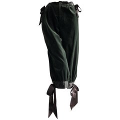 1970s Yves Saint Laurent Moss Green Cotton Velvet Knickers W/ Black Satin Tie