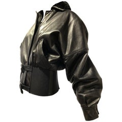 1980s Gianni Versace Supple Black Leather Bomber Jacket W/ Wide Belted Waistband