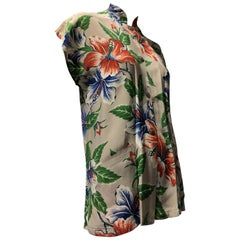 Hawaiian Tropical Print Nehru Collar Rayon Blouse With Side Pockets, 1940s