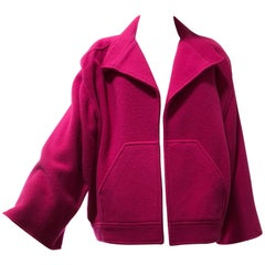 1980s Chloe by Lagerfeld Hot Pink Lightweight Mohair Spring Coat