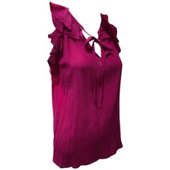 1980s Saint Laurent Hot Pink Silk Ruffled and Ribbon Tie Camisole