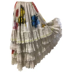 Mexican White Cotton Lace Tiered Skirt With Hand-Painted Bees and Florals, 60s