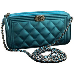 Chanel Boy Metallic Blue Caviar Wallet On Chain WOC Clutch Bag